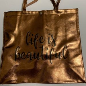 Bags - GLAM Bronze Life is Beautiful Tote [AC-14]